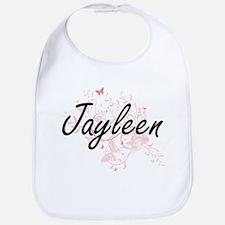 Jayleen Artistic Name Design with Butterflies Bib
