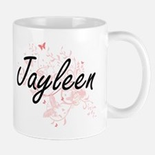 Jayleen Artistic Name Design with Butterflies Mugs