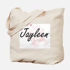 Jayleen Artistic Name Design with Butterf Tote Bag