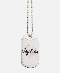 Jayleen Artistic Name Design with Butterf Dog Tags
