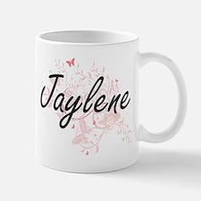 Jaylene Artistic Name Design with Butterflies Mugs