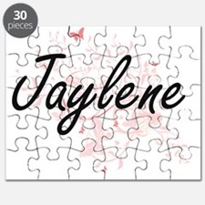 Jaylene Artistic Name Design with Butterfli Puzzle