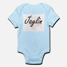 Jaylin Artistic Name Design with Butterf Body Suit
