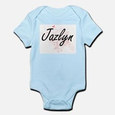 Jazlyn Artistic Name Design with Butterf Body Suit