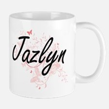 Jazlyn Artistic Name Design with Butterflies Mugs