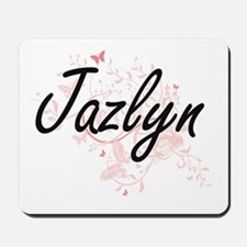Jazlyn Artistic Name Design with Butterf Mousepad