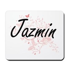 Jazmin Artistic Name Design with Butterf Mousepad