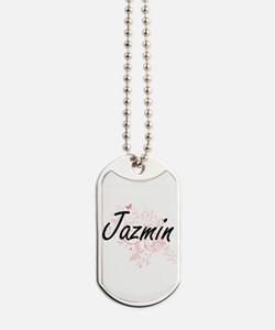 Jazmin Artistic Name Design with Butterfl Dog Tags