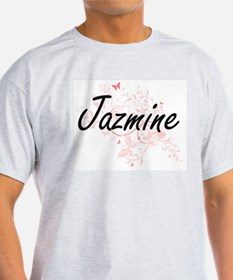 Jazmine Artistic Name Design with Butterfl T-Shirt