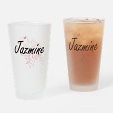 Jazmine Artistic Name Design with B Drinking Glass