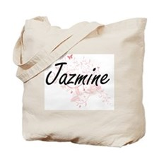 Jazmine Artistic Name Design with Butterf Tote Bag