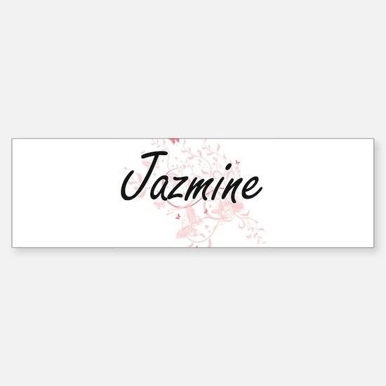 Jazmine Artistic Name Design with B Bumper Bumper Bumper Sticker