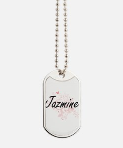 Jazmine Artistic Name Design with Butterf Dog Tags