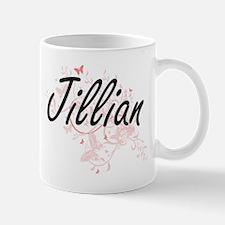 Jillian Artistic Name Design with Butterflies Mugs