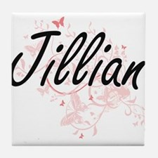 Jillian Artistic Name Design with But Tile Coaster