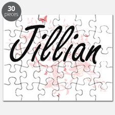 Jillian Artistic Name Design with Butterfli Puzzle