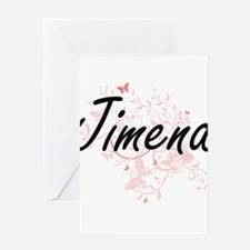 Jimena Artistic Name Design with Bu Greeting Cards