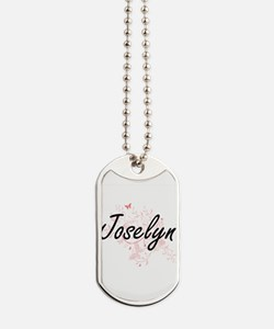 Joselyn Artistic Name Design with Butterf Dog Tags