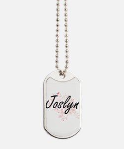 Joslyn Artistic Name Design with Butterfl Dog Tags