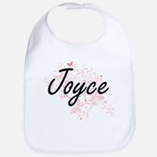 Joyce Artistic Name Design with Butterflies Bib