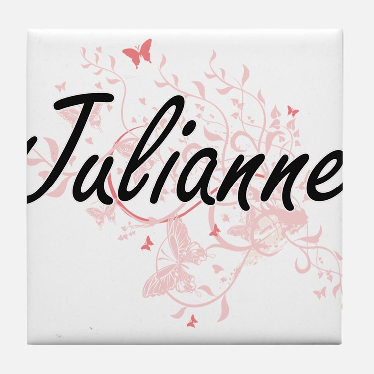 Julianne Artistic Name Design with Bu Tile Coaster
