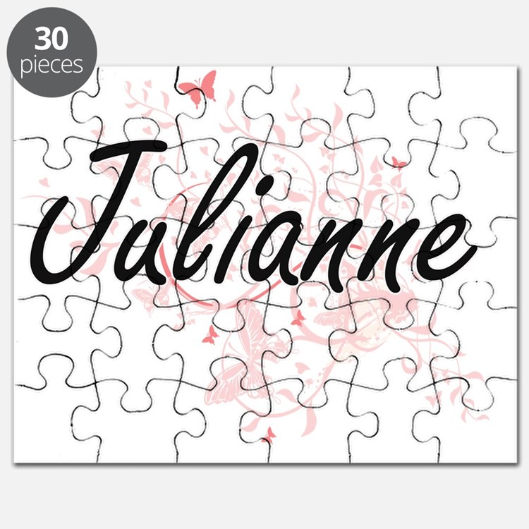Julianne Artistic Name Design with Butterfl Puzzle