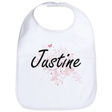 Justine Artistic Name Design with Butterflies Bib