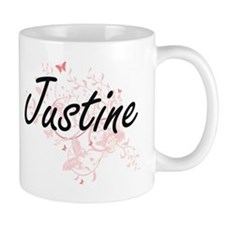 Justine Artistic Name Design with Butterflies Mugs