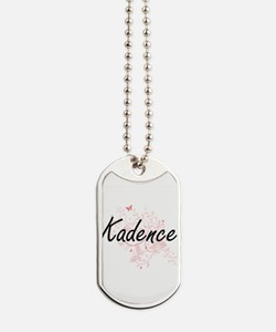 Kadence Artistic Name Design with Butterf Dog Tags
