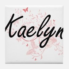 Kaelyn Artistic Name Design with Butt Tile Coaster