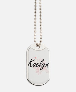 Kaelyn Artistic Name Design with Butterfl Dog Tags