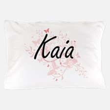 Kaia Artistic Name Design with Butterf Pillow Case