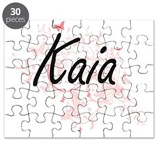 Kaia Artistic Name Design with Butterflies Puzzle