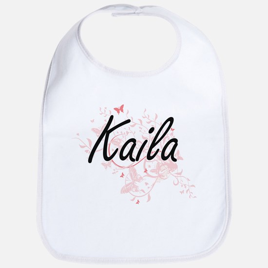 Kaila Artistic Name Design with Butterflies Bib