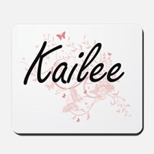 Kailee Artistic Name Design with Butterf Mousepad