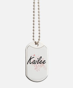 Kailee Artistic Name Design with Butterfl Dog Tags