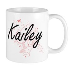 Kailey Artistic Name Design with Butterflies Mugs