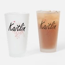 Kaitlin Artistic Name Design with B Drinking Glass