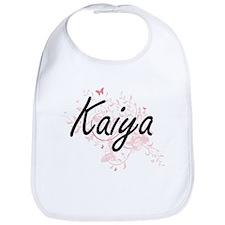 Kaiya Artistic Name Design with Butterflies Bib