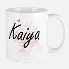 Kaiya Artistic Name Design with Butterflies Mugs
