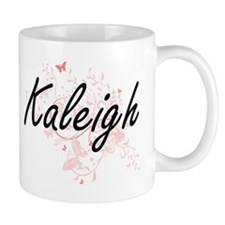 Kaleigh Artistic Name Design with Butterflies Mugs