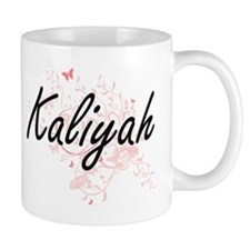Kaliyah Artistic Name Design with Butterflies Mugs