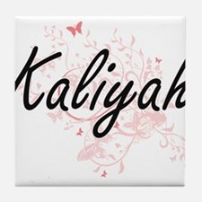Kaliyah Artistic Name Design with But Tile Coaster