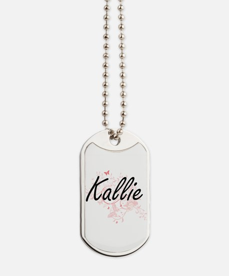 Kallie Artistic Name Design with Butterfl Dog Tags