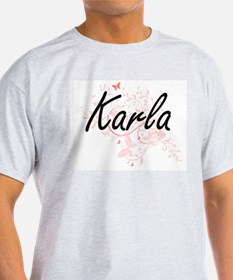 Karla Artistic Name Design with Butterflie T-Shirt