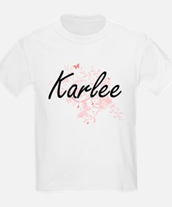 Karlee Artistic Name Design with Butterfli T-Shirt