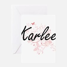 Karlee Artistic Name Design with Bu Greeting Cards