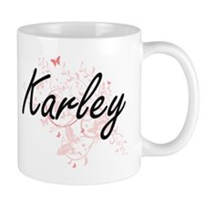 Karley Artistic Name Design with Butterflies Mugs