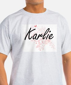 Karlie Artistic Name Design with Butterfli T-Shirt