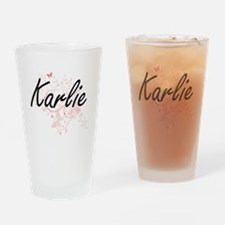 Karlie Artistic Name Design with Bu Drinking Glass